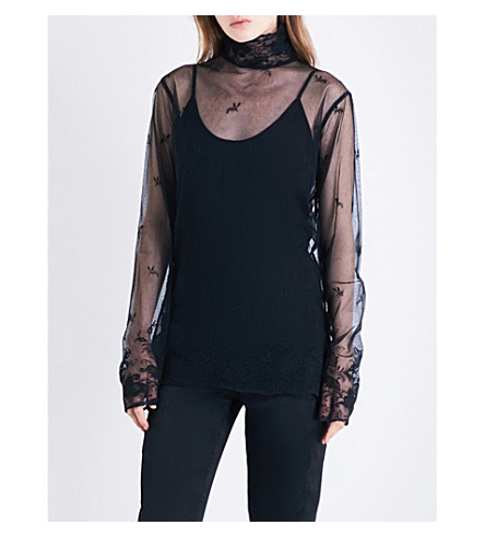 ANN DEMEULEMEESTER High-neck floral-embroidered cotton-tulle top (Black