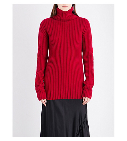 ANN DEMEULEMEESTER Turtleneck ribbed wool and cashmere-blend jumper (Red