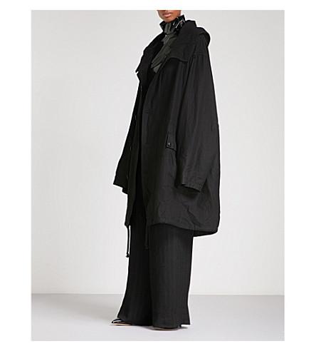 ANN DEMEULEMEESTER Oversized wool and ramie-blend parka coat (Black
