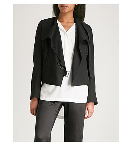 ANN DEMEULEMEESTER Asymmetric wool cropped jacket (Black