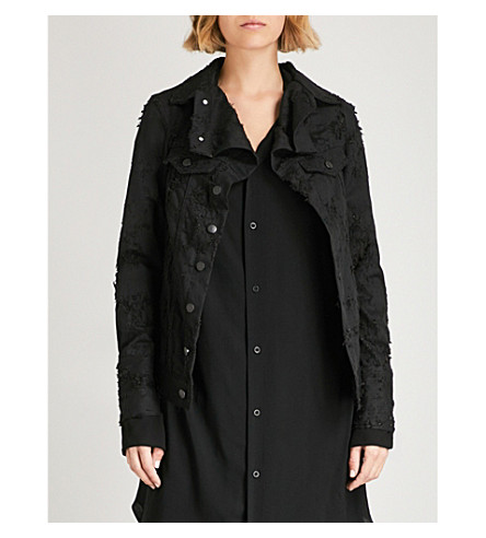 ANN DEMEULEMEESTER Distressed denim jacket (Black