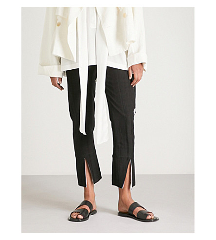ANN DEMEULEMEESTER Striped straight high-rise woven trousers (Black/off+white