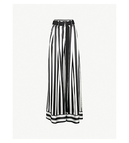 ANN DEMEULEMEESTER Striped wide-leg silk pants (Mint/black