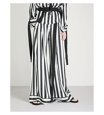 ANN DEMEULEMEESTER Striped wide-leg silk trousers (Mint/black