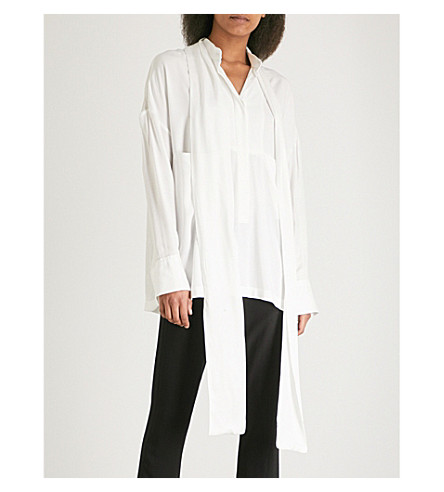 ANN DEMEULEMEESTER Oversized woven shirt (Off+white/white