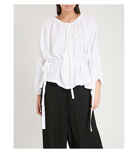 ANN DEMEULEMEESTER Belted ruched woven top (White