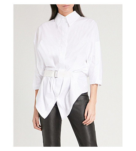 ANN DEMEULEMEESTER Belted oversized cotton shirt (White