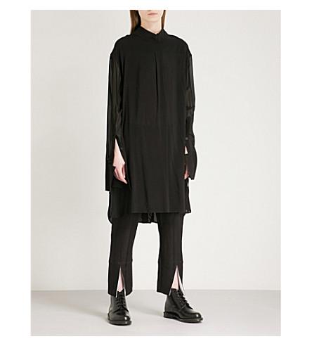 ANN DEMEULEMEESTER Reverse-collar woven shirt dress (Black/black