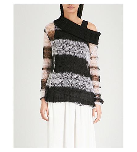 ANN DEMEULEMEESTER Striped distressed mohair-blend jumper (Black