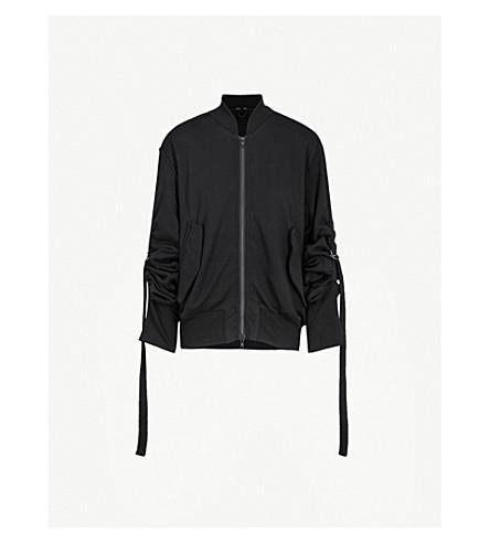 ANN DEMEULEMEESTER Oversized jersey bomber jacket (Black