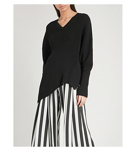ANN DEMEULEMEESTER V-neck ribbed cotton and cashmere-blend jumper (Black/black