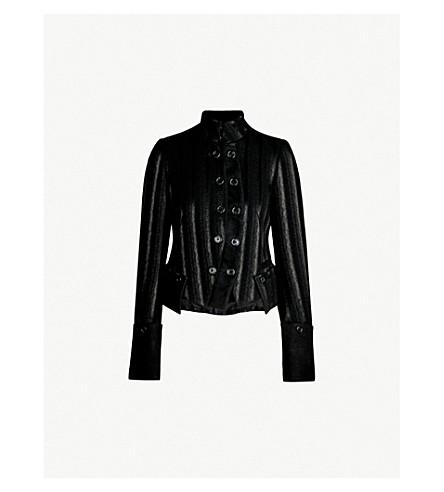 ANN DEMEULEMEESTER 双排扣条纹羊毛混纺夹克 (黑色