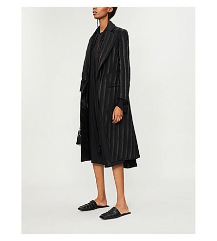 ANN DEMEULEMEESTER 条纹羊毛混纺大衣 (黑色