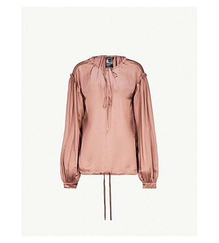 ANN DEMEULEMEESTER Tie-detail satin blouse (Tan