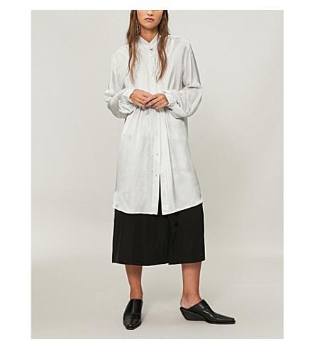 ANN DEMEULEMEESTER Oversized satin shirt (Fog