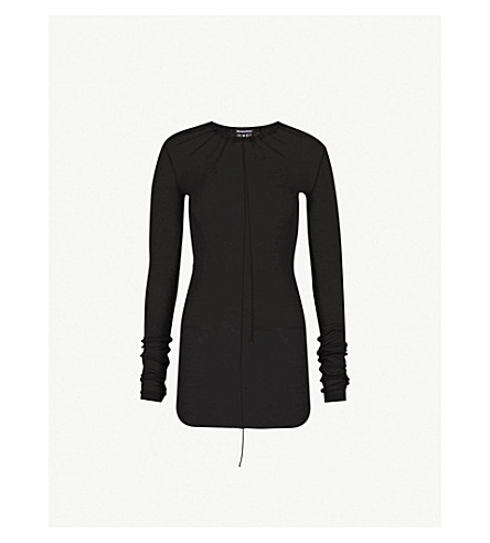 ANN DEMEULEMEESTER Gathered jersey top (Black
