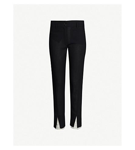 ANN DEMEULEMEESTER Lace-panel split-hem straight cotton-blend trousers (Black