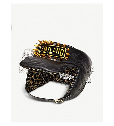 STEPHEN JONES Lamyland padded leather headband (Black/leopard