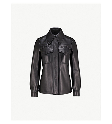 MAISON MARGIELA Curved-hem leather jacket (Black
