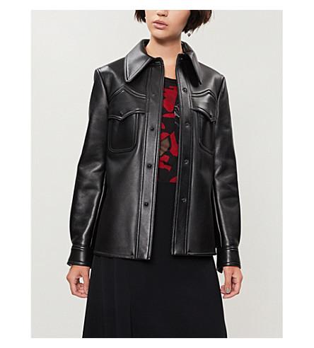 MAISON MARGIELA Curved-hem leather jacket (Black