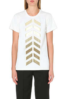 MAISON MARTIN MARGIELA Gold-toned appliqué cotton t-shirt