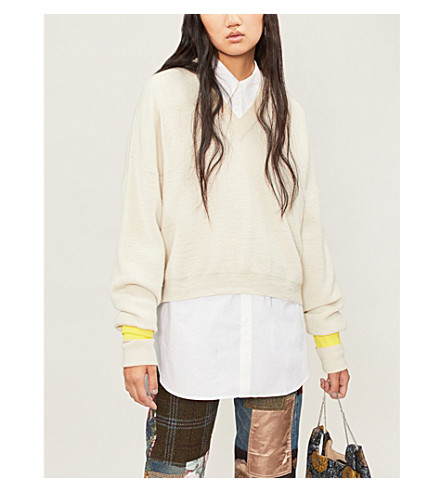 MAISON MARGIELA Contrast-trim wool-blend jumper (Off+white+yellow