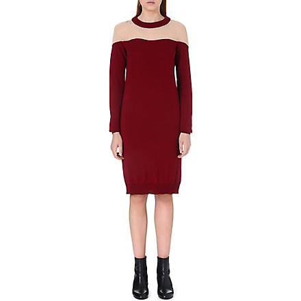 MAISON MARTIN MARGIELA Sheer-panel knitted dress (Ruby