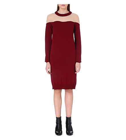 MAISON MARTIN MARGIELA Sheer-panel knitted dress (Ruby