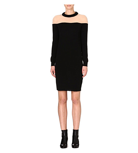 MAISON MARTIN MARGIELA Contrast wool-blend dress (Black