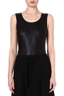 MAISON MARTIN MARGIELA Leather and stretch-cotton body