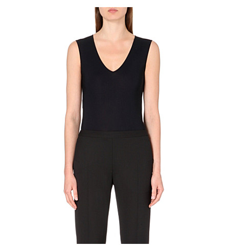 MAISON MARGIELA V-neck stretch-jersey body (Black