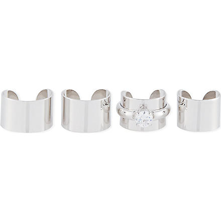 MAISON MARTIN MARGIELA Set of four rings with jewel (Silver