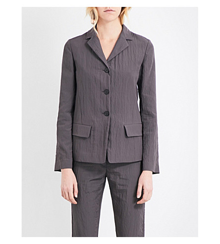 JIL SANDER Textured single-breasted shell jacket (Grey