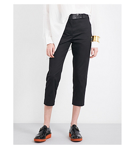 JIL SANDER Tailored-fit mid-rise cropped stretch-cotton trousers (Black