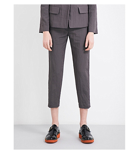 JIL SANDER Textured tailored-fit mid-rise shell trousers (Grey