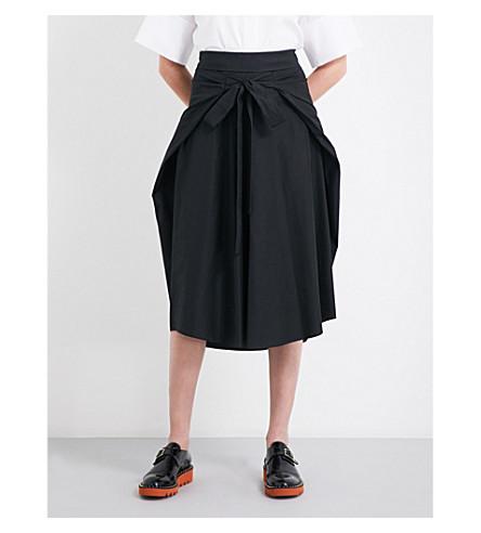 JIL SANDER Wraparound self-tie cotton skirt (Black