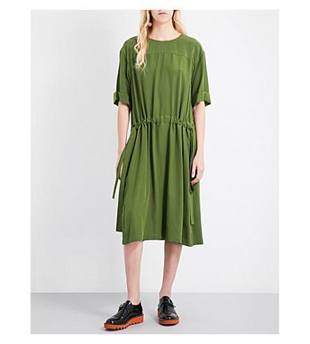JIL SANDER Drawstring-waist silk-crepe dress (Green