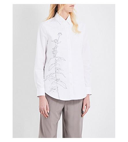 JIL SANDER Floral-embroidered cotton shirt (White