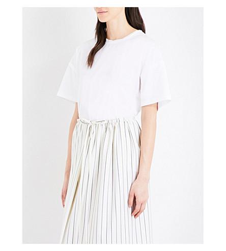 JIL SANDER Frayed-detail cotton-poplin T-shirt (White