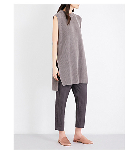 JIL SANDER Sleeveless cotton cashmere and silk-blend jumper (Taupe