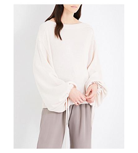 JIL SANDER Gathered-cuff cotton cashmere and silk-blend jumper (Cream