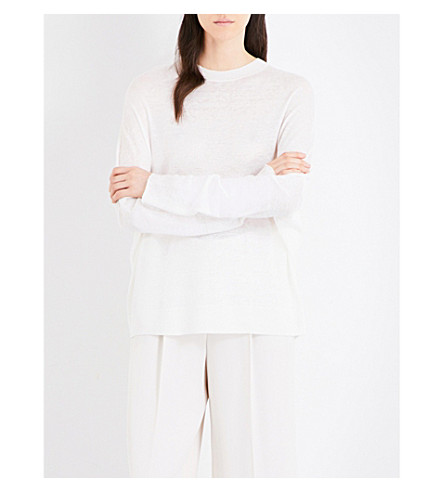 JIL SANDER Loose-fit linen cashmere and silk-blend jumper (Natural