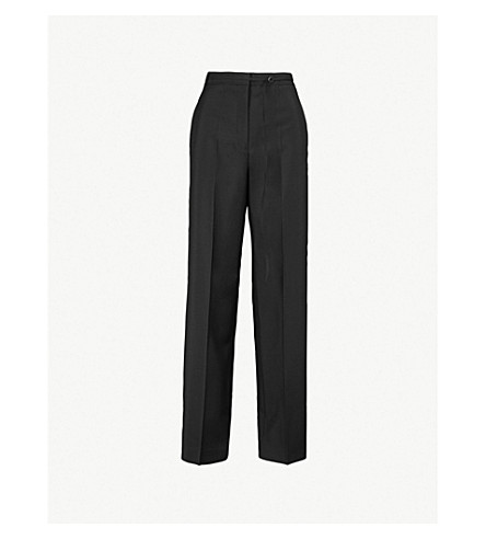 JIL SANDER Fabio wide-leg high-rise wool and mohair-blend trousers (Black