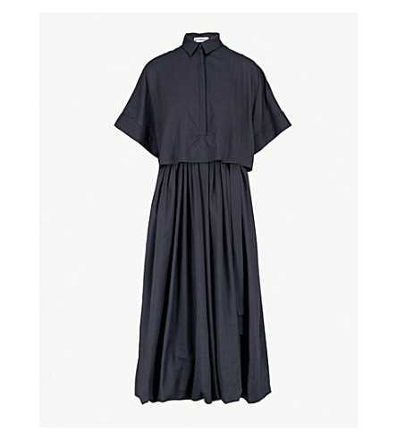 JIL SANDER Forbes wool and silk midi dress (Dark+blue