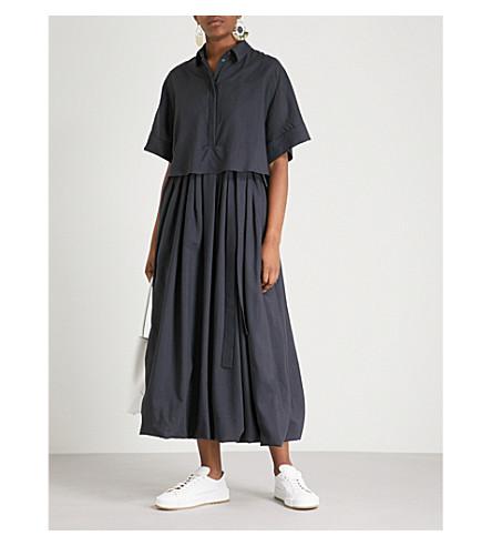 JIL SANDER 福布斯羊毛和真丝迷笛连衣裙 (暗 + 蓝