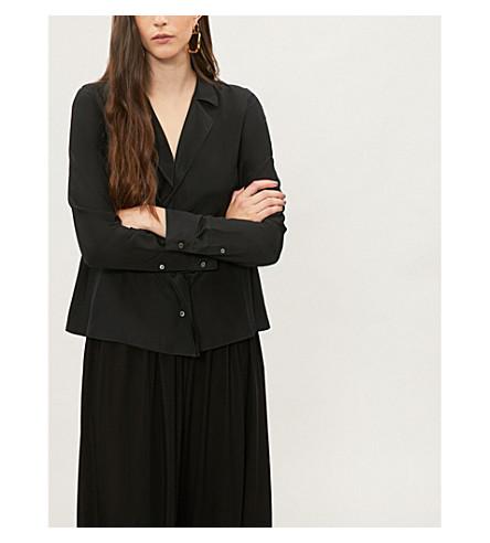 JIL SANDER Revere-collar silk shirt (Black