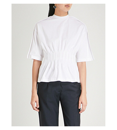 JIL SANDER Ruched stretch-cotton T-shirt (White