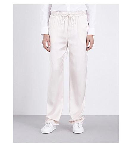 JIL SANDER Cyrius straight mid-rise silk-satin trousers (Open+white