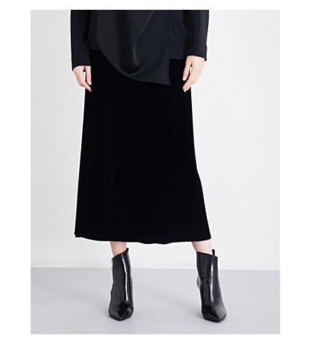 JIL SANDER A-line velvet midi skirt (Navy