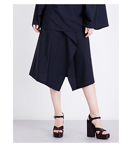 JIL SANDER Dream pleated wool and mohair-blend skirt (Navy